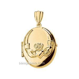 14ky 20-1/2x17-1/2 Ladies' Oval Locket Pendant (Claddagh)