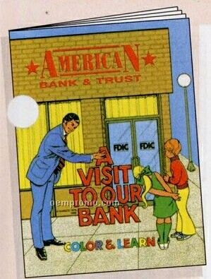 """8""""X10-5/8"""" 16 Page Coloring & Fun Book (A Visit To Our Bank)"""