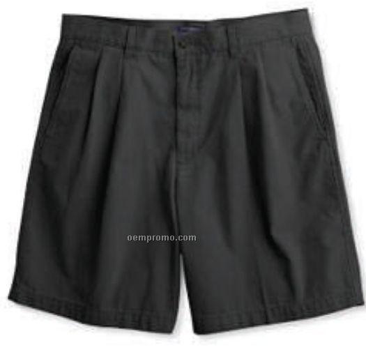 Dockers Men's Washed Khaki Pleated Shorts (Black)