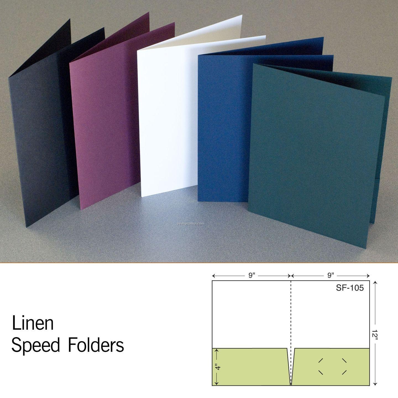 """White Linen Speed Folder W/ 2 4"""" Pockets (Blank)"""