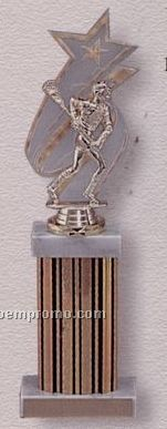 "13"" Single Wide Column Trophy W/ Backdrop & Marble Cap"