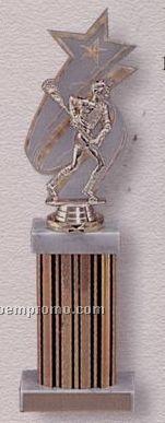 """13"""" Single Wide Column Trophy W/ Backdrop & Marble Cap"""