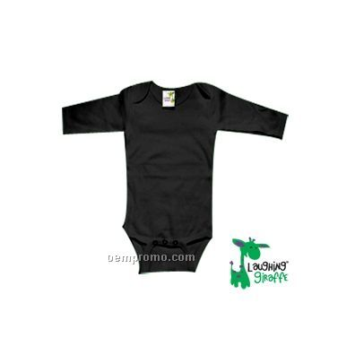 Black Poly Cotton Blend Infant Long Sleeve Onesie