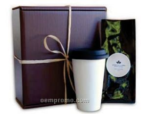 Organic Coffee In Foil Bag With A Double Wall Porcelain Cup In A Gift Box