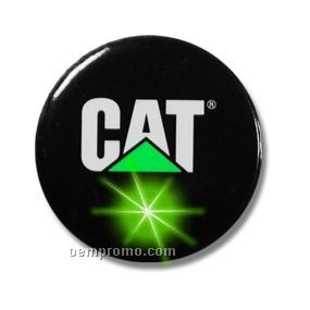 "Round Light Up Button W/ Green LED (2 1/4"")"