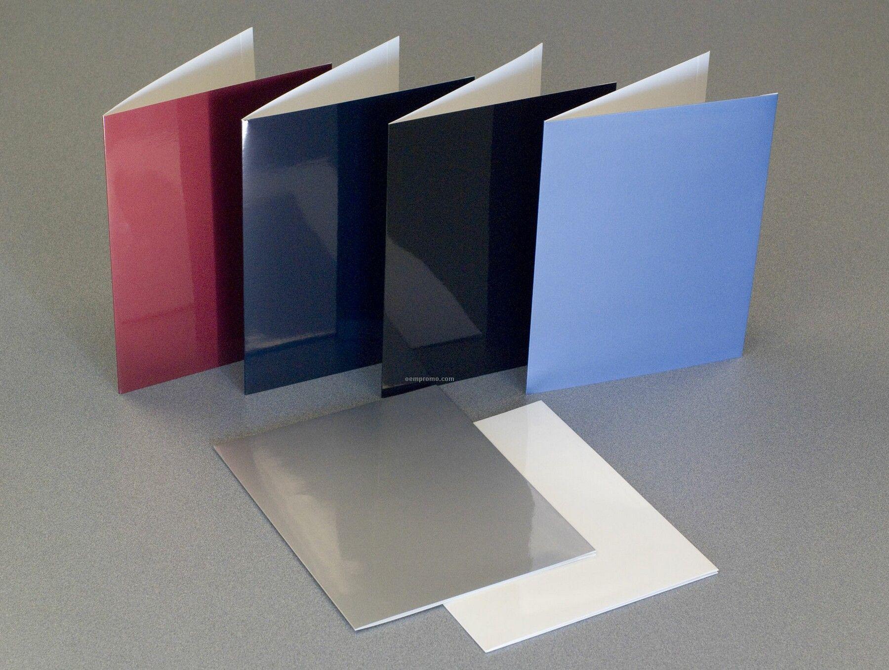 White Laminated Speed Folder W/ Double Pocket (Blank)