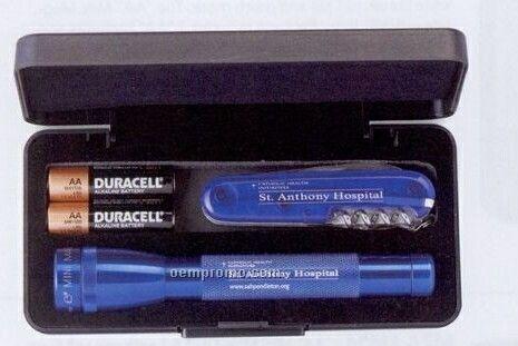 AA Mini Mag-lite Flashlight With Victorinox Tinker Swiss Army Knife