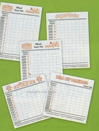 Mexican Train/ Chickenfoot Dual Use Score Pad For Dominoes With Dots