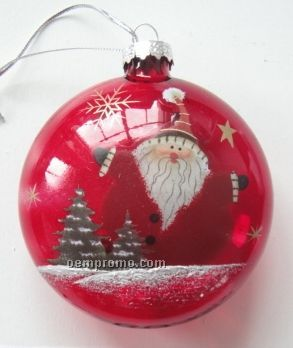 Santa Round Red Ornament