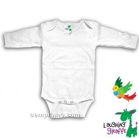 White Poly Cotton Blend Infant Long Sleeve Onesie