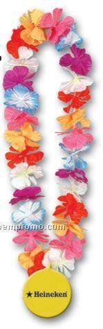 """36"""" Silk 'n Petals Leis W/ Custom Paper Medallion (Multiple Color Flowers)"""