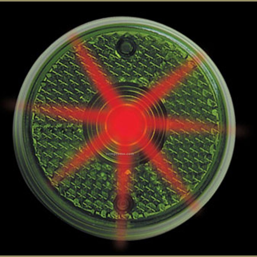 Green Round Light Up Reflector W/ Red LED