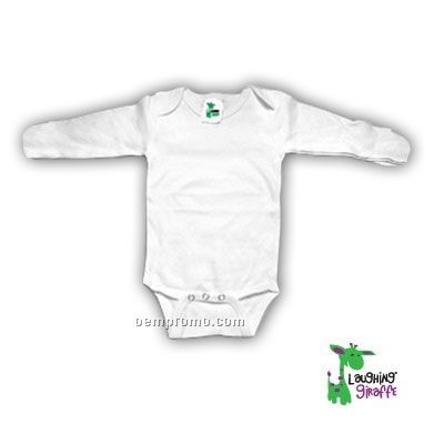White Poly Cotton Blend Infant Long Sleeve Onesie W/ Mittens