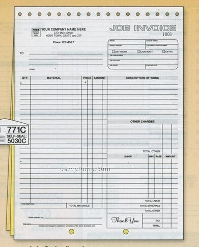 Job Order/ Invoice With Carbons (3 Part)