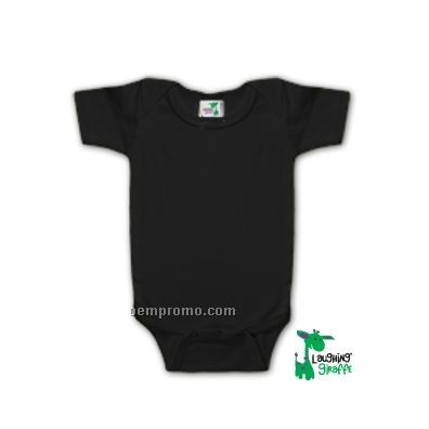 Poly Cotton Blend Infant Short Sleeve Onesie (Black)