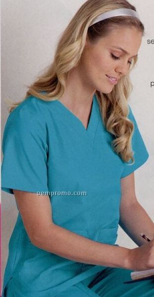 Solid Color 60/40 Cotton/ Poly V-neck Medical Tunic