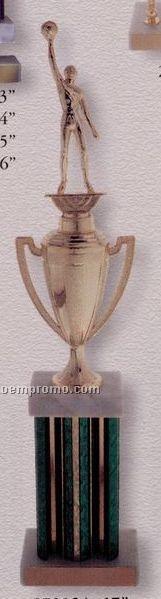 "19"" Single Column Trophy W/ Cup & Marble Cap"