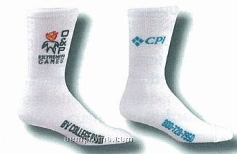 Custom Mid Calf Heel & Toe Socks W/ Scattered Logo (5-9 Small)