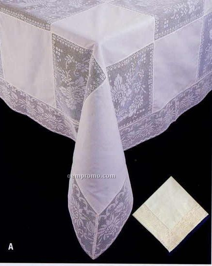 """Perma Press 17""""X17"""" Napkins With Filet Lace"""