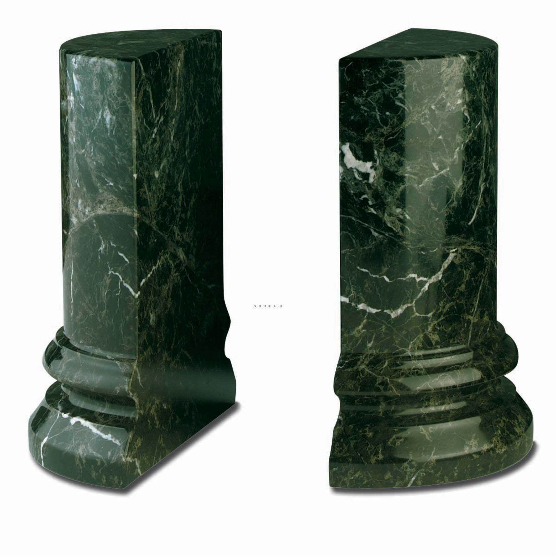 Round Bookends Column - Jade Leaf Green
