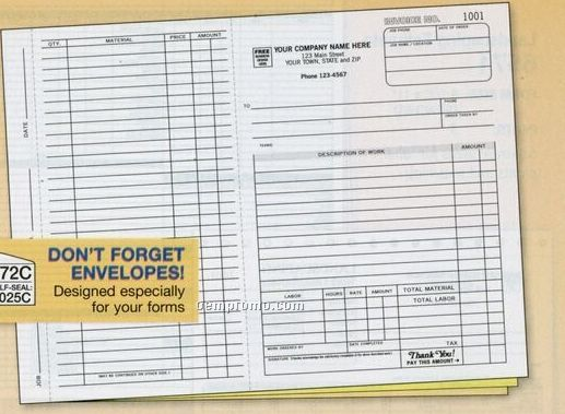 Work Order/ Invoice With Carbons (2 Part)