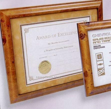 Burl Hardwood Executive Certificate Frame W/ Double Suede Matboard