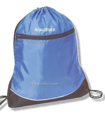 "Q-tees Nylon Drawstring Backpack (14""X18""X1-3/4"")"