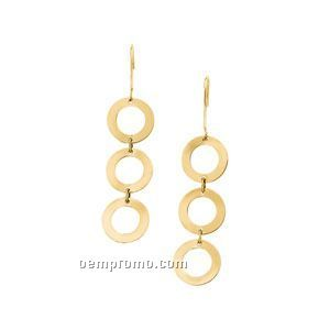 14ky Geometric Circle Earrings