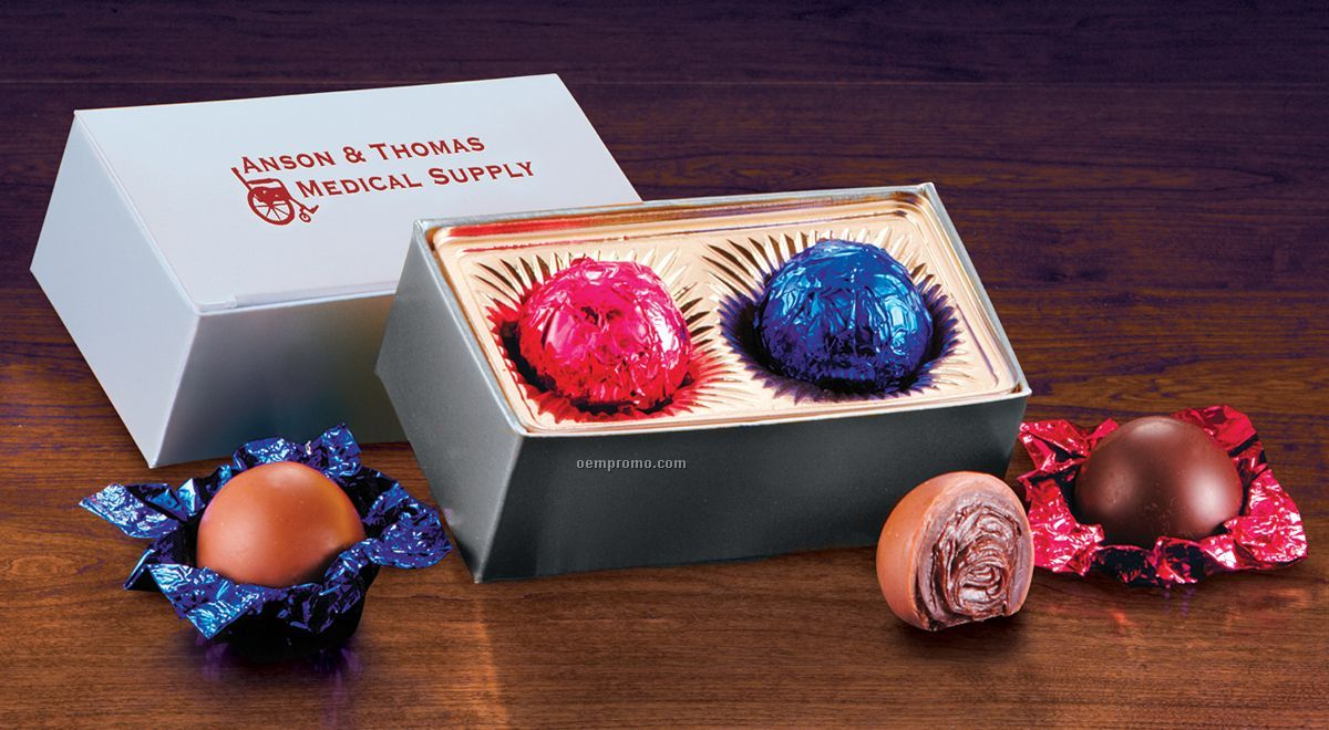 Silver Gift Box With Chocolate Truffles - 2 Pieces