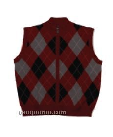 Ladies' Full Zip Argyle Sweater Vest (S-xl)