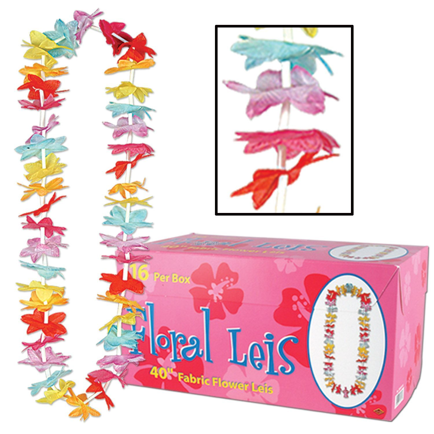 Multi Color Floral Leis W/ 16 Count Case Box