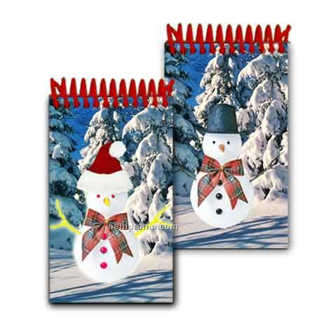 3d Lenticular Mini Notebook Stock/Snowman (Blank)
