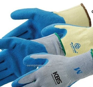 Blue Textured Latex Palm Coated Gloves With Gray Shell (S-sl)