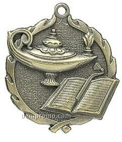 """Medal, """"Lamp-of-knowledge"""" - 1-3/4"""" Wreath Edging"""