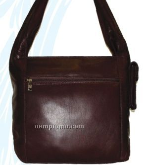 Medium Brown Tonya Cowhide Hobo Bag W/ Inside Organizer