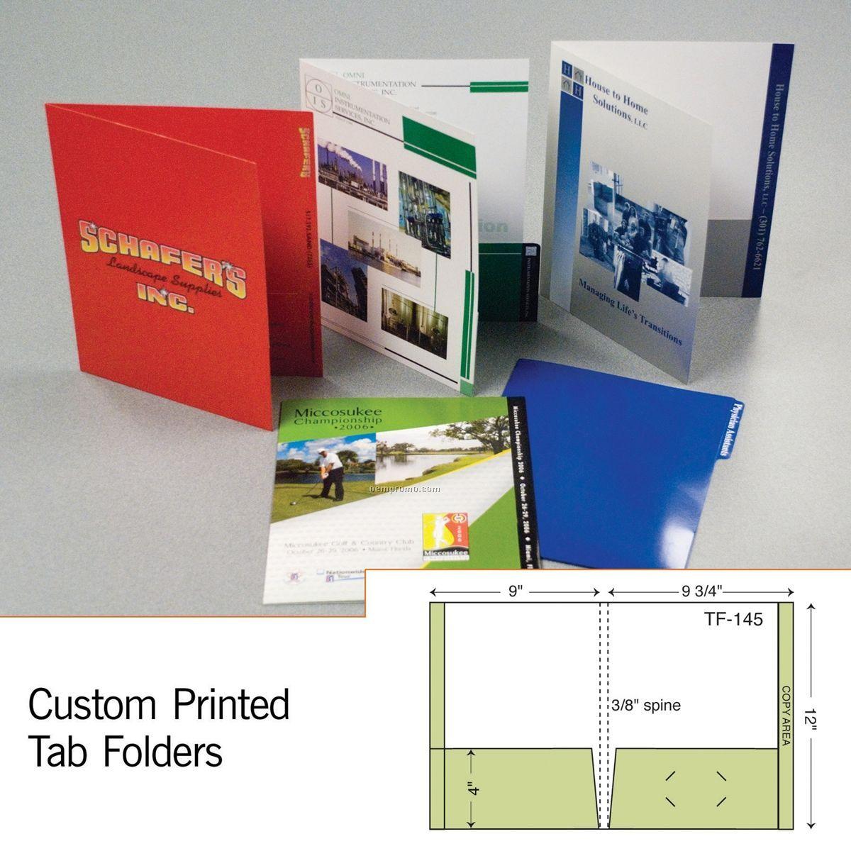 Tab Folder W/ 2 Pockets & Full Right Tab (1 Color/1 Side)