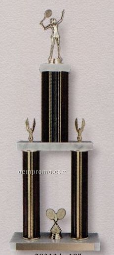 "19"" Two Poster Trophy On 3 Tiers Of Marble"
