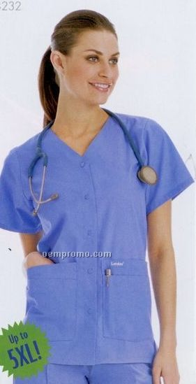 Solid 65/35 Poly/ Cotton Snap Front V-neck Medical Tunic