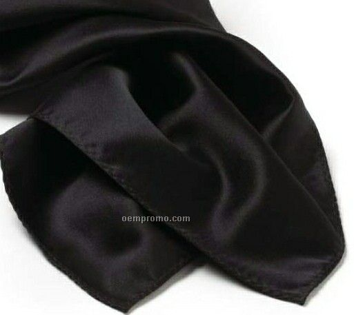 Wolfmark Solid Series Black Polyester Satin Scarf (30