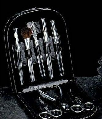 8 Piece Manicure & Make Up Set W/ Black Leather Case
