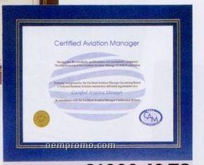 Blue Leatherette Certificate Holder Frame