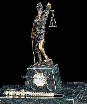 Bronze Legal Pen Holder W/ Clock On Marble Base