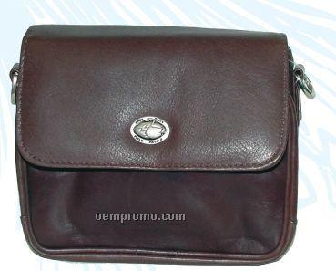 Dark Brown Meredith Stone Wash Cowhide Mini Bag W/ Back Organizer