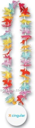 """40"""" Floral Leis W/ Custom Paper Medallion (Blue/ Red/ Yellow/ Purple/ Gold)"""