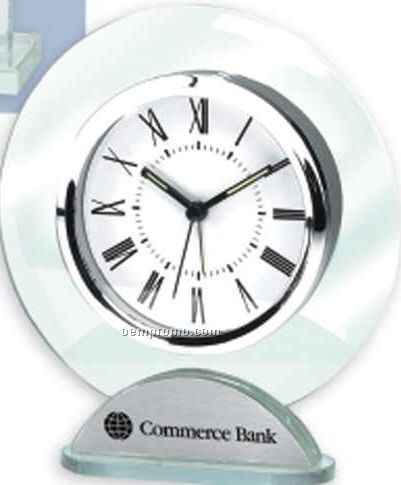 Round Silver And Glass Alarm Clock