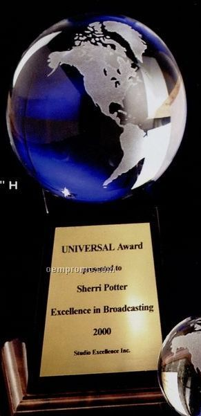 "5"" Clear Glass World Globe Award On Base"