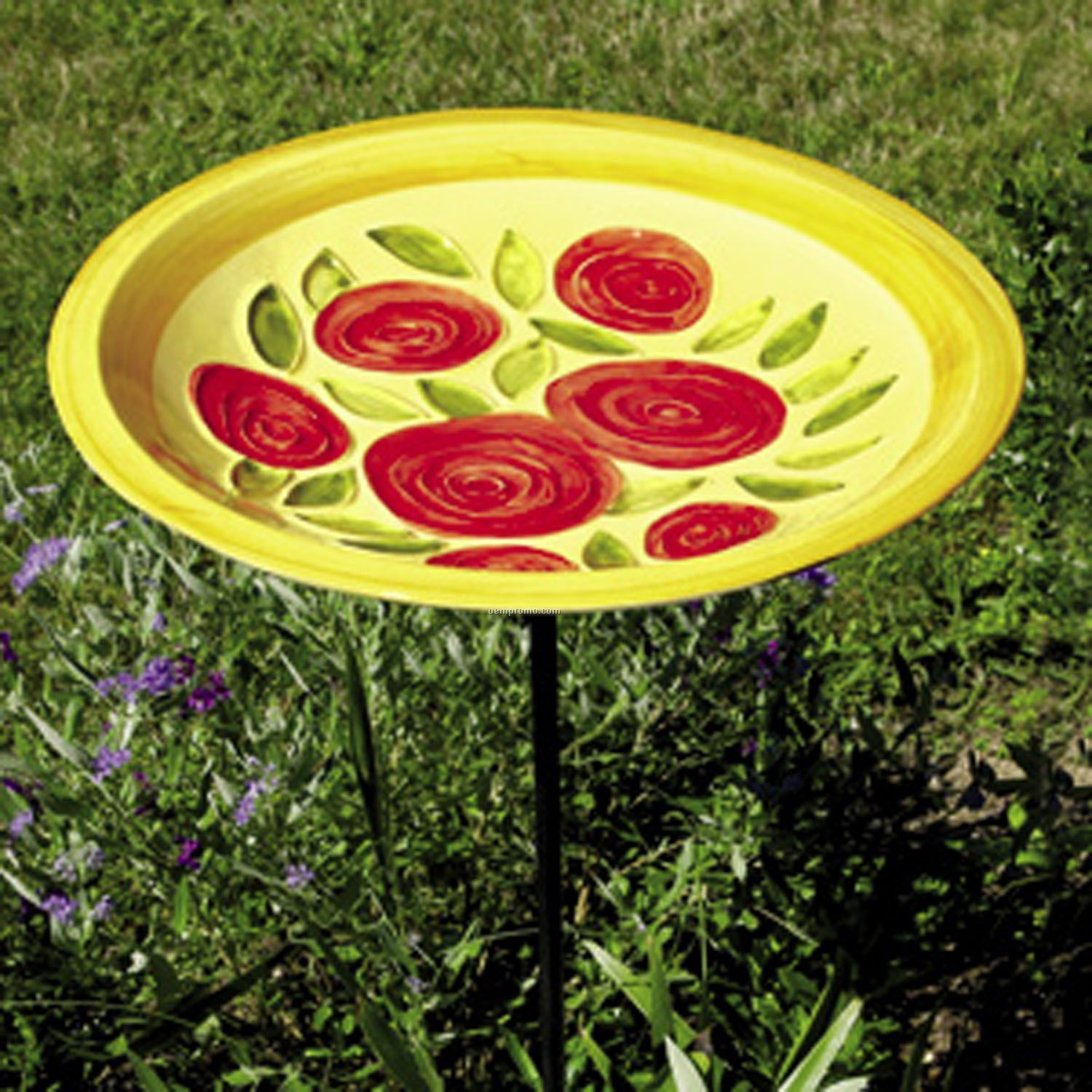 Achla Designs Yellow Roses Birdbath And Stake Set