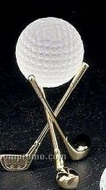 Solid Brass Gold Plated Golf Club Holder W/ Ball