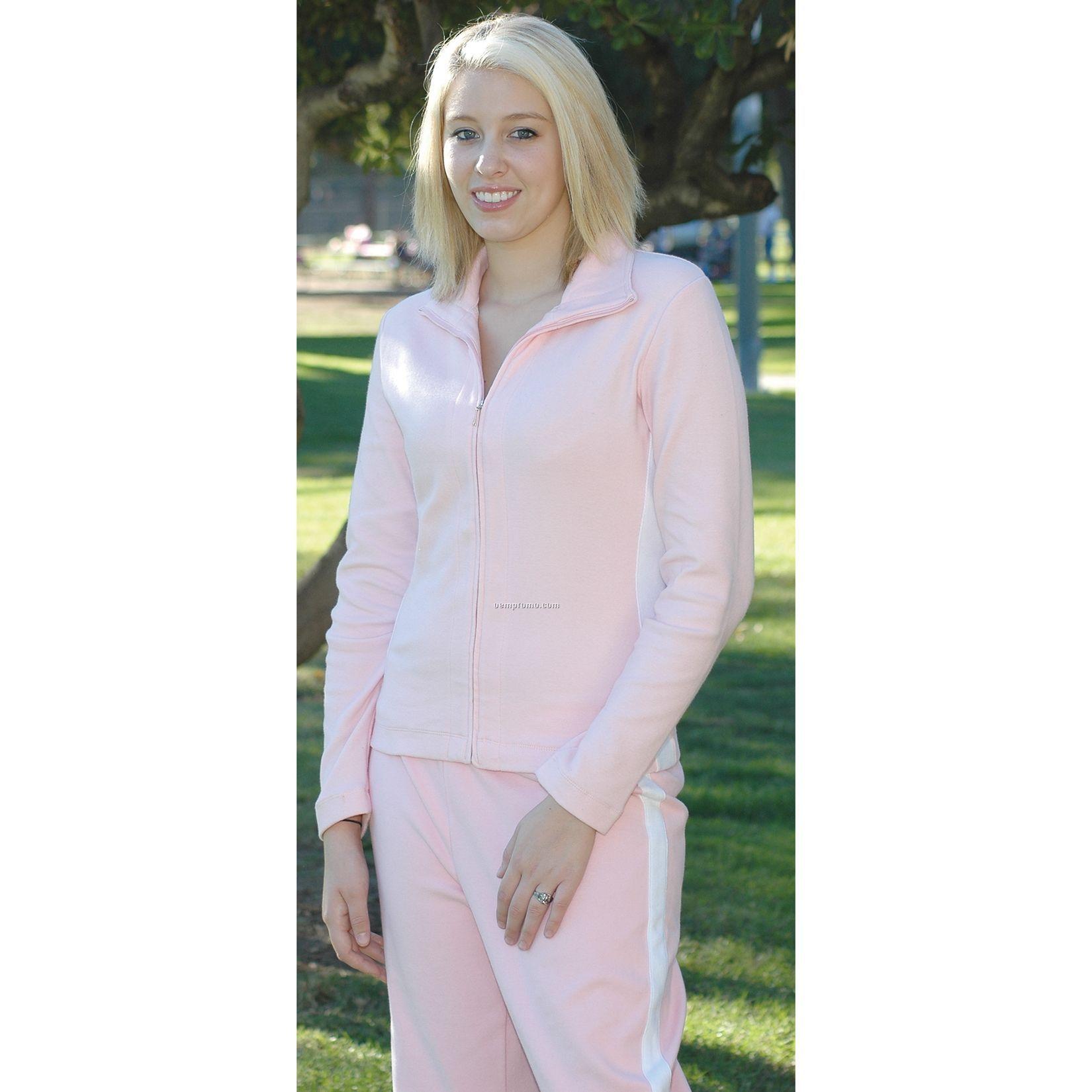 Ladies Full Zip Cotton/ Spandex Sweater
