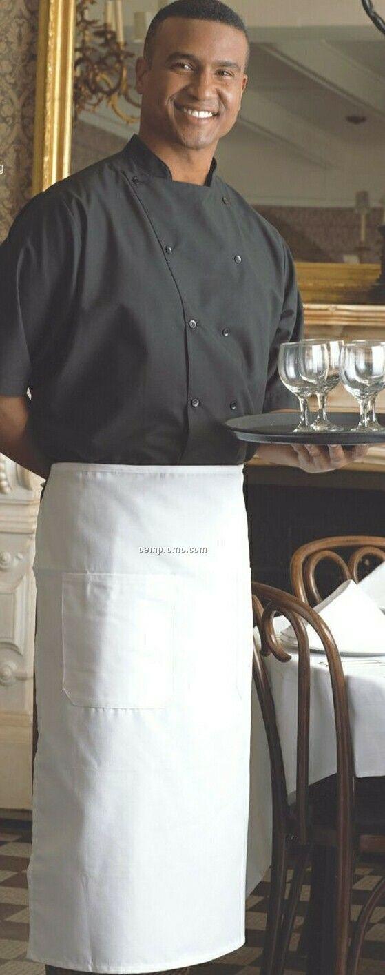 White bistro apron - White 2 Pocket Bistro Apron Blank